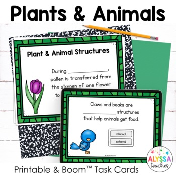 Plants and Flowers Task Cards with Digital Boom Cards