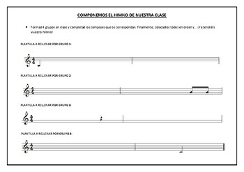Plantilla para componer el himno de la clase (Español)
