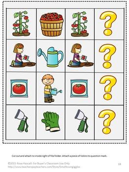 Vegetable Garden Math and Literacy Interactive File Folder Games Summer Review