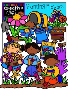 Planting Flowers: Spring Clipart {Creative Clips Digital Clipart}