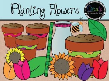 Planting Flowers - Digital Clipart