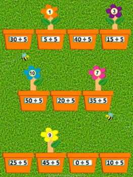 Planting Flowers Dividing by 5 File Folder Game ~ Division