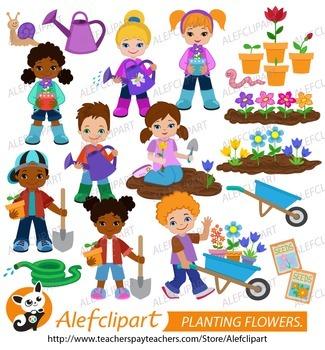Planting Flowers.Children plant flowers.Digital Clipart. Creative Clips.