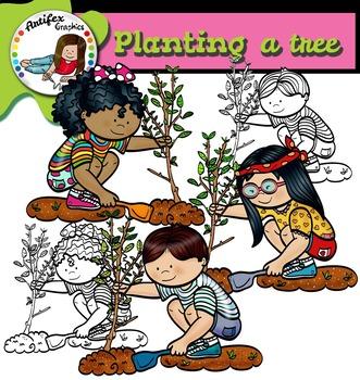 Planting a tree clip art