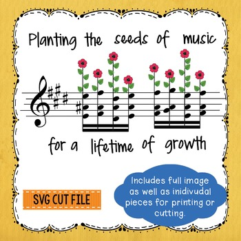 Planting the Seeds of Music Banner SVG PNG Silhouette Cricut Cut Files