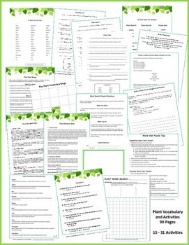 VOCABULARY & PLANT Activities   PLANT UNIT   Resource Lists   Gr 4-5-6-7