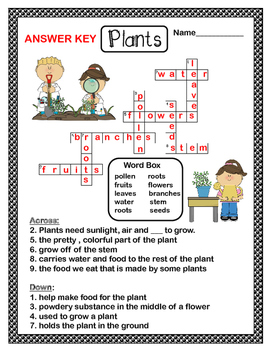 Free Plants Crossword Puzzle By Teaching Simply Tpt