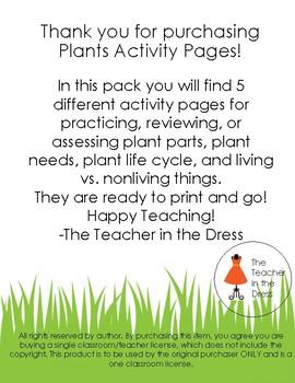Plants Activity Pages