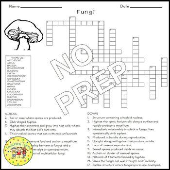 Fungi Crossword Puzzle