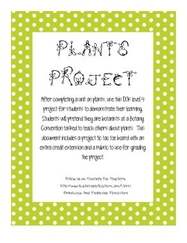 Plants Challenge Project Level 4 DOK Extension Rubric