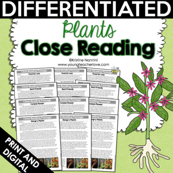 Close Reading: Plants Differentiated Reading Passages | Text-Dependent Questions