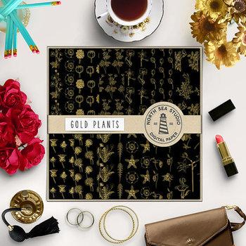 Plants Digital Paper, Gold Wildflower Patterns