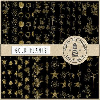 Plants Digital Paper, Gold Wildflower Patterns, Botanical