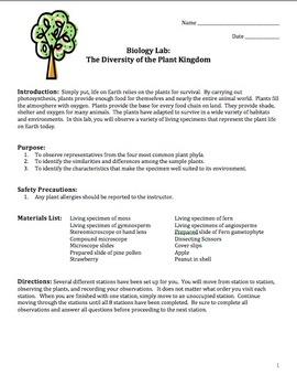 Plants: Diversity of the Plant Kingdom (A Living Plant Lab)