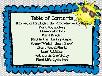 Plants: ELA/Science/Math activities for the kindergarten classroom