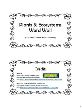 Plants & Ecosystems Word Wall