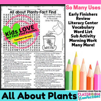 Plants Activity: Plants Word Search (non-fiction text, reading facts)