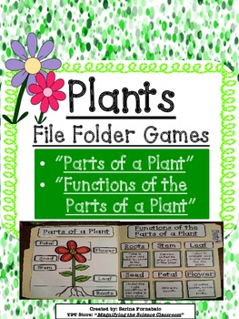 Plants Sorting, Labeling, and Matching File Folder Games Centers