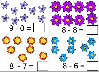 Plants & Flowers, Spring Growing -  5-10 Subtraction Dry Erase Cards