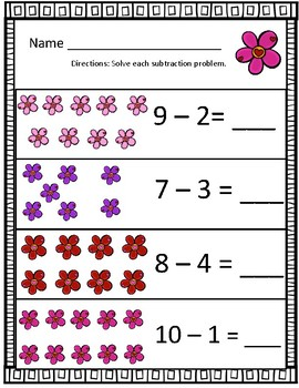 Plants & Flowers Spring Growing Subtraction Worksheets