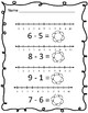 Number Line Subtraction Worksheets - Plants, Flowers, and Spring Growing