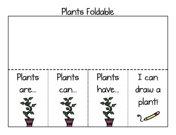 Plants Foldable - Plants are, Plants can, Plants have, I can draw a plant!