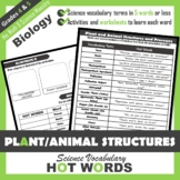 4th Grade Science Hot Words: Plants and Flowers Vocabulary