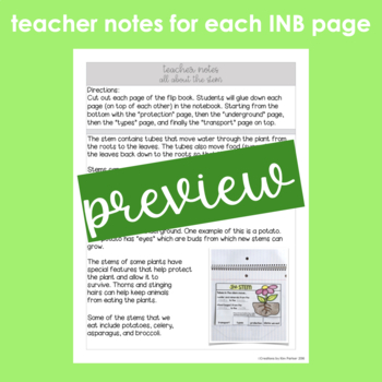 Plants- Interactive Notebook, Study Guide and Assessment (Grade 3)