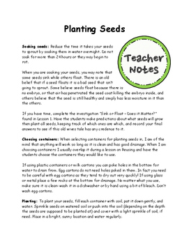 Plants Lesson 3 - Planting Seeds