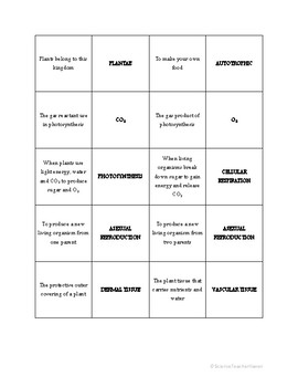 Biology: Plants Matching Review Game