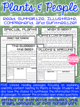 Plants & People: Science Articles w/ Comprehension Paired Text Questions!