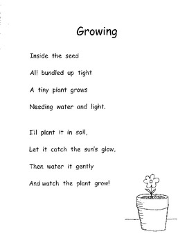 Plants Life Cycle Planting Seeds Poetry Sequencing Common Core Inc. Plans  K-1