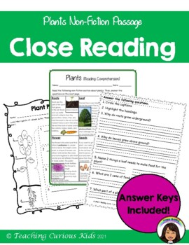 plants reading comprehension by teaching curious kids tpt. Black Bedroom Furniture Sets. Home Design Ideas