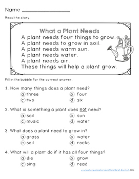 Plants Reading Comprehension Stories - First Grade