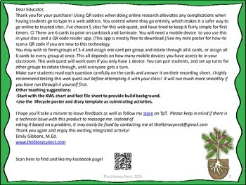 Plant Life Cycle Non-Fiction Task Cards and QR Code Web Quest