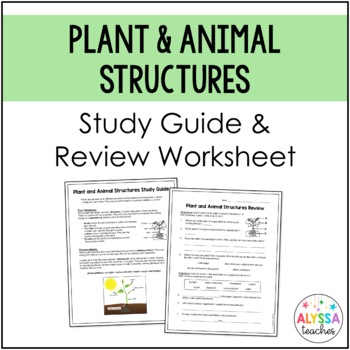 Plant and Animal Structures Study Guide and Review Worksheet (SOL 4.2)
