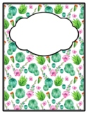 Plants Succulents Cactus Binder Cover and Spines, Back to School