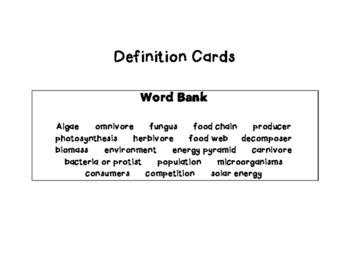 Plants & Sunlight, Food Chains, Food Webs, Microorganisms- Vocabulary Cards