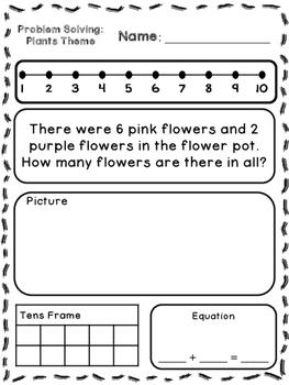 Plants Theme Addition & Subtraction Word Problems (Kinderg