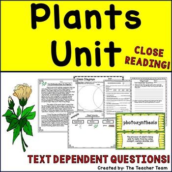 Plants Unit ~ Close Reading ~ Text Dependent Questions