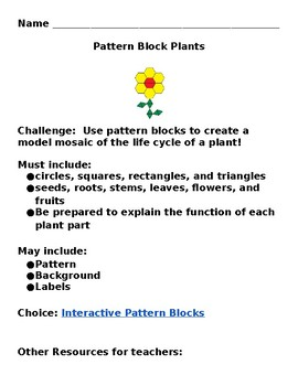 Plants Unit Computer Science Science Math Reading Integrated VDOE Align EDITABLE