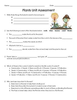 Plants Unit Assessment/Quiz/Test