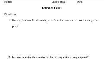 Plants Unit Lesson Plans