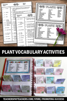 Parts of a Plant Cut and Paste Interactive Notebook + Plant Vocabulary Quiz