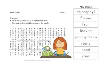 Plants - Word Search and ABC Order