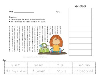 Plants Vocabulary - Word Search and ABC Order