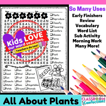 Plants Activity: Plants Vocabulary: Plants Word Search