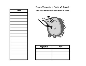 Plants Word Search, ABC order and Parts of Speech