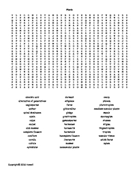 Plants Word Search for Middle School Science
