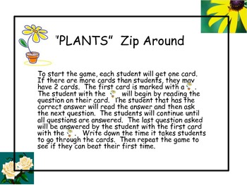 """Plants"" Zip Around Game"
